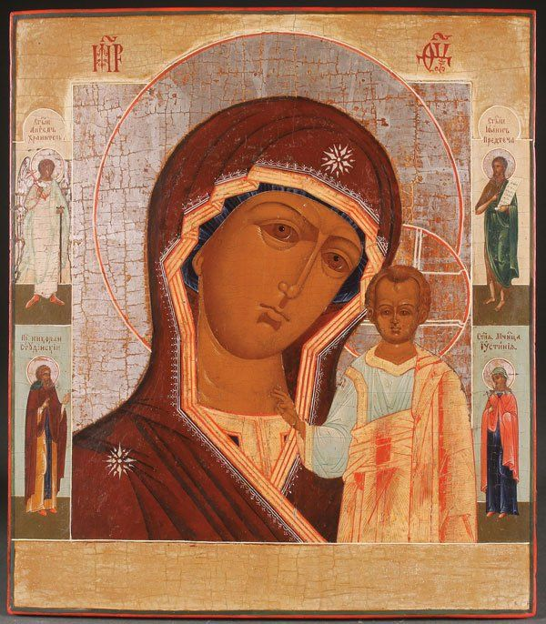 A LARGE RUSSIAN ICON OF THE KAZAN MOTHER OF GOD