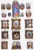 A GROUP OF 18 RUSSIAN ROSTOV ENAMEL ICONS