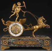 FRENCH EMPIRE STYLE GILT BRONZE CLOCK OF CUPID