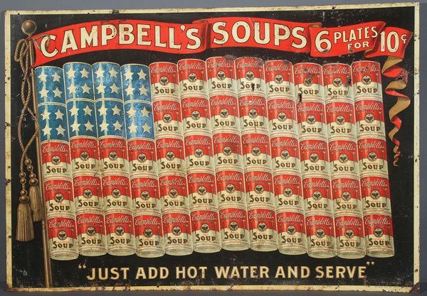 EXTREMELY RARE CAMPBELL'S SOUP TIN ADVERTISING SIGN