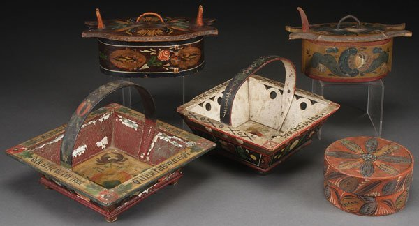 FIVE NORWEGIAN CARVED BENT WOOD BOXES ROSEMALING