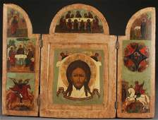 A LARGE RUSSIAN ICON TRIPTYCH 19TH CENTURY
