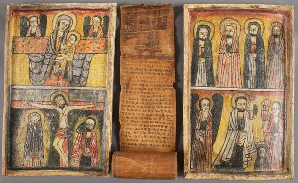 A GROUP OF ETHIOPIAN ICONS AND A COPTIC SCROLL