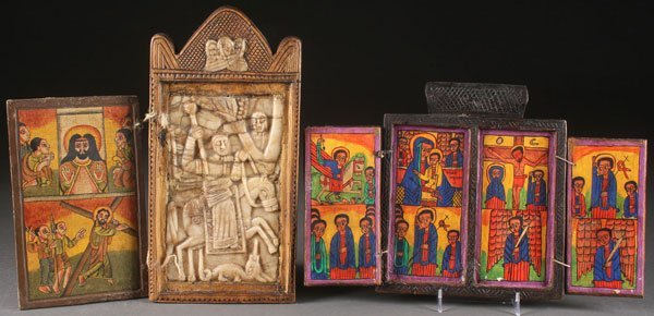 A GROUP OF ETHIOPIAN ICONS AND A COPTIC SCROLL - 2