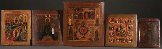 A GROUP OF FIVE RUSSIAN ICONS CIRCA 18001890