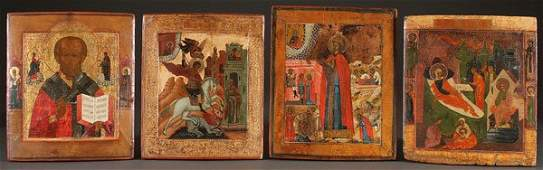 A GROUP OF FOUR RUSSIAN ICONS, 18TH AND 19TH C.
