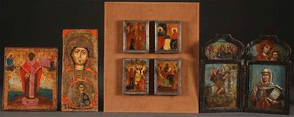 SIX RUSSIAN ICONS AND A DIPTYCH, 18TH/19TH C.