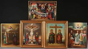 A GROUP OF FIVE ICONS 19TH CENTURY