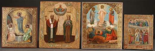 A GROUP OF FOUR RUSSIAN ICONS, CIRCA 1880.