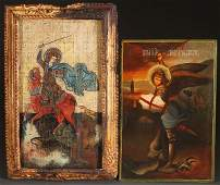A PAIR OF LARGE ICONS, 20TH CENTURY