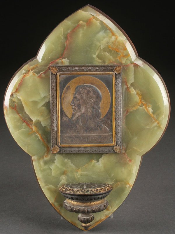"A FRENCH ""OUR FATHER"" HOLY WATER FONT, CIRCA 1890"