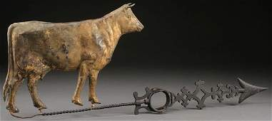 """A FULL-BODIED COPPER """"COW"""" WEATHERVANE, 19TH C."""