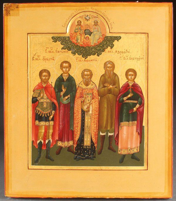 RUSSIAN ICON, SELECTED SAINTS, MSTERA, 1900