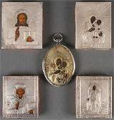 5 RUSSIAN ICONS WITH SILVER OKLADS CIRCA 1900