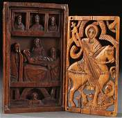 PAIR CARVED ICONS, 17TH/18TH CENTURY