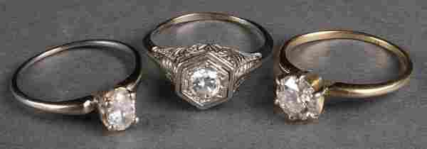 3 LADIES DIAMOND SOLITAIRE RINGS