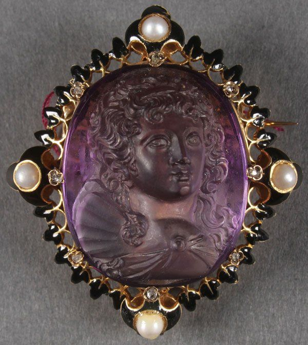 FRENCH CARVED AMETHYST CAMEO BROOCH