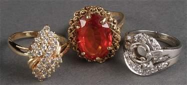 6 LADIES GOLD & GEMSTONE MOUNTED COCKTAIL RINGS