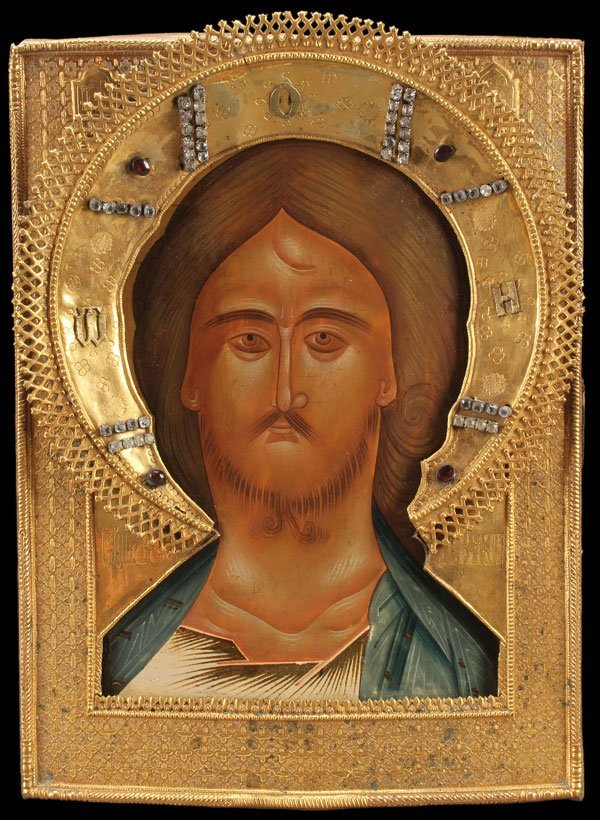 A VERY FINE RUSSIAN ICON OF THE FIERCE EYE CHRIST