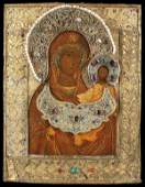 A FINE OLD RUSSIAN ICON OF THE VIRGIN 17TH CENTURY