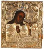 FINE RUSSIAN ICON WITH GILDED SILVER RIZA DATED 1778