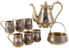 RUSSIAN SILVER GILT, NIELLO TEA SERVICE, OVCHINNIKOV