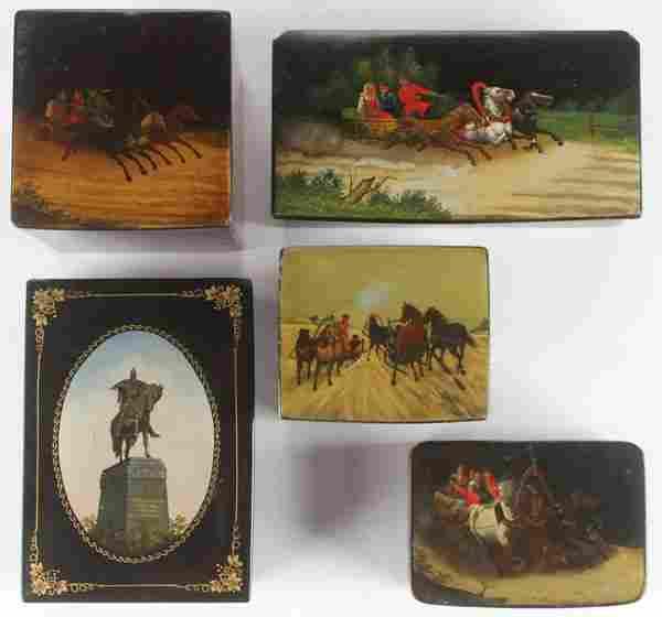 FIVE RUSSIAN LACQUERWARE BOXES