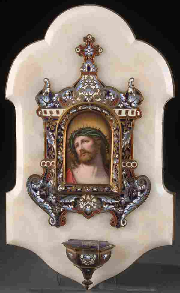 FRENCH PORCELAIN PAINTED & ENAMEL HOLY WATER FONT