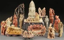 16 FINELY CARVED CHINESE SOAPSTONE FIGURES 19TH/20TH C