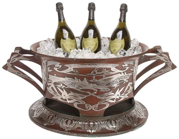 ART NOUVEAU SILVER & COPPER WINE COOLER TROPHY