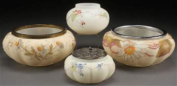 GROUP OF SMITH BROTHERS ENAMELED ART GLASS