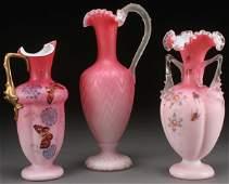 A THREE PIECE VICTORIAN ART GLASS GROUP