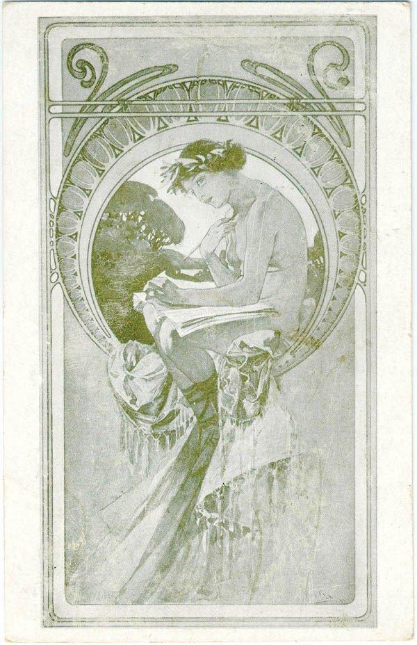 2: AN ALPHONSE MUCHA NUDE ARTIST POSTCARD depicting