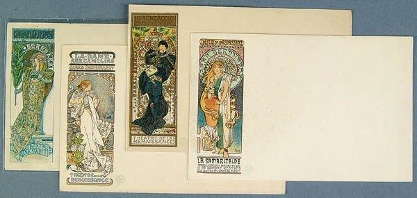 3: 4 ALPHONSE MUCHA CARDS 2 postcards, 2 have plain