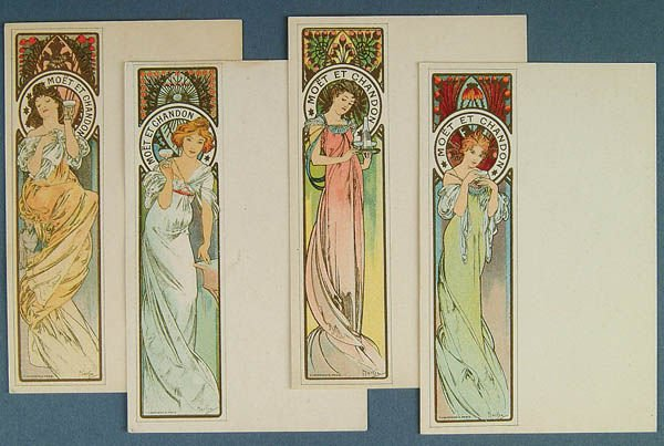 7: 4 ALPHONSE MUCHA MOET & CHANDON CARDS 3 with post