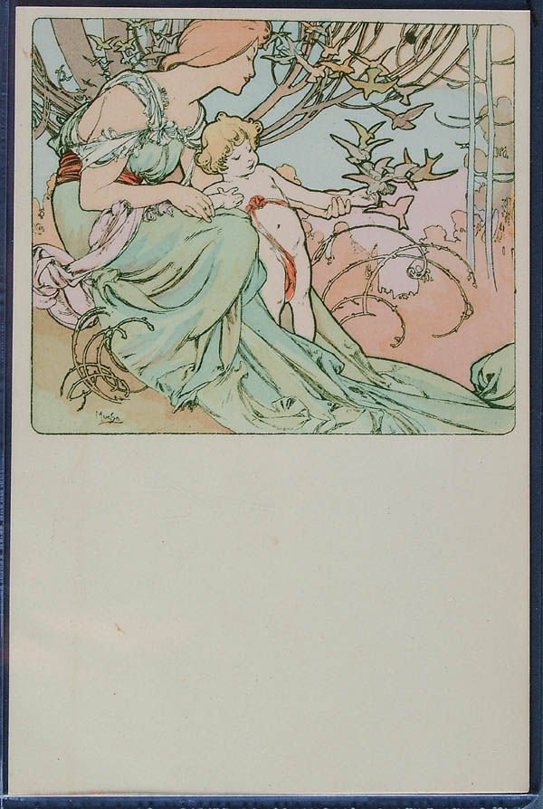 19: 4 ALPHONSE MUCHA POSTCARDS Four Ages of Man: Chil