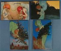 93: 4 RAPHAEL KIRCHNER POSTCARDS Christmas Set Series