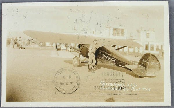 701: A MONOCOUPE ZEPPELIN MAILED REAL PHOTO POSTCARD O