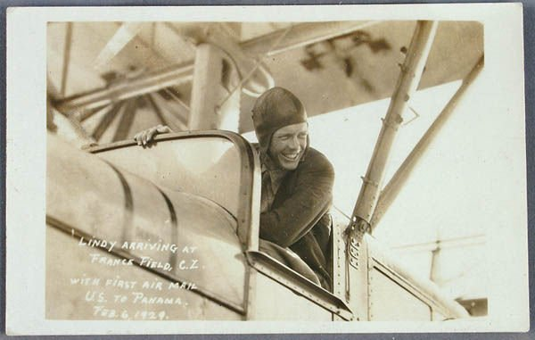 702: A LINDBERGH REAL PHOTO POSTCARD first airmail to