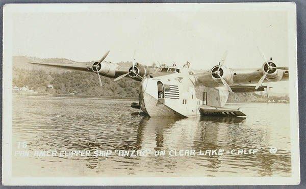 "703: A PAN-AM CLIPPER SHIP REAL PHOTO POSTCARD ""Anzac"""