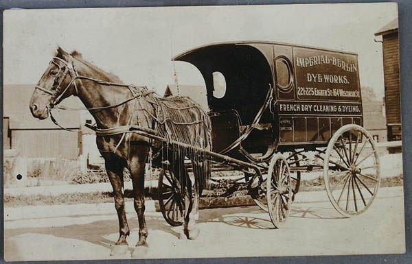 717: HORSEDRAWN WAGON ADVERTISING REAL PHOTO POSTCARD