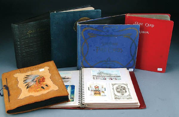 1021: 6 VINTAGE POSTCARD ALBUMS including animals, wome