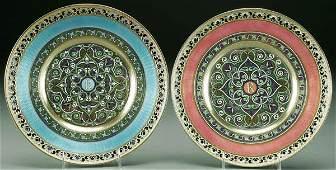 109: PAIR OF RUSSIAN ENAMEL SILVER-GILT DINNER PLATES