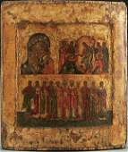 127 A FINE OLD RUSSIAN ICON IN THREE REGISTERS probab