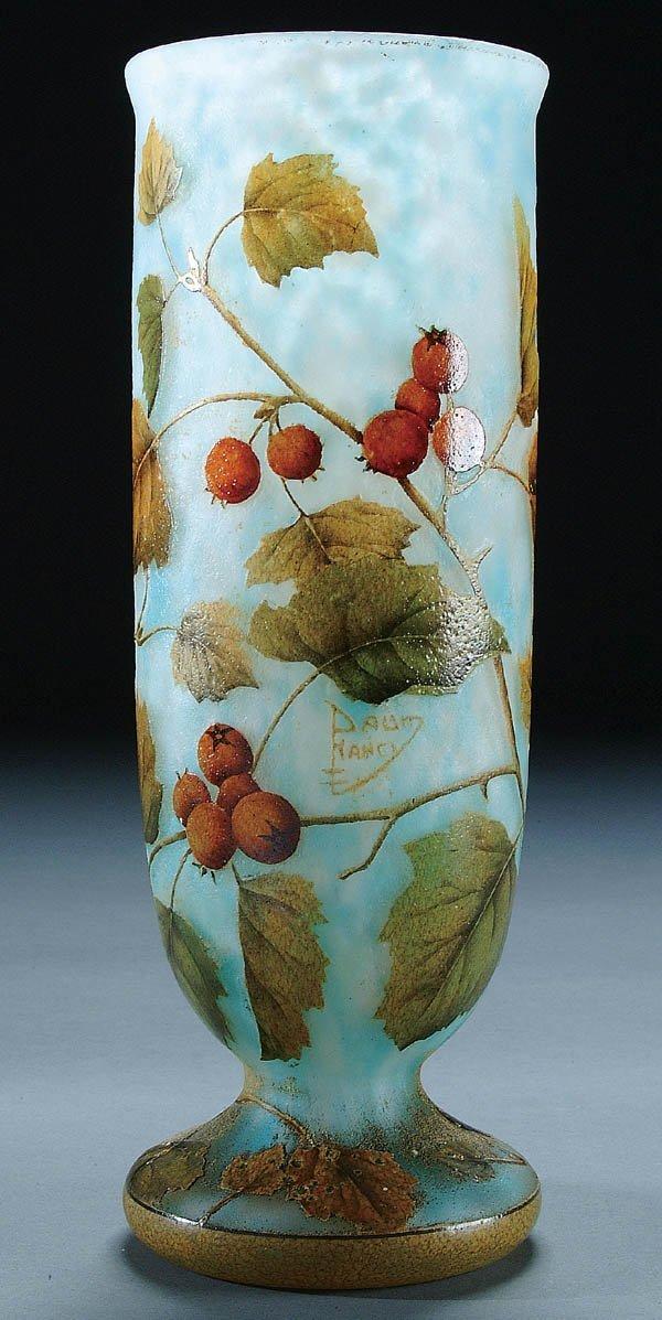 506: AN ENAMELED DAUM FRENCH CAMEO GLASS VASE circa 19