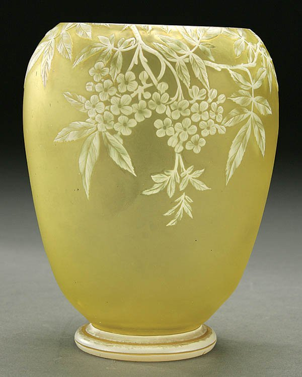 510: A WEBB CAMEO GLASS VASE circa 1900 in citrine gla