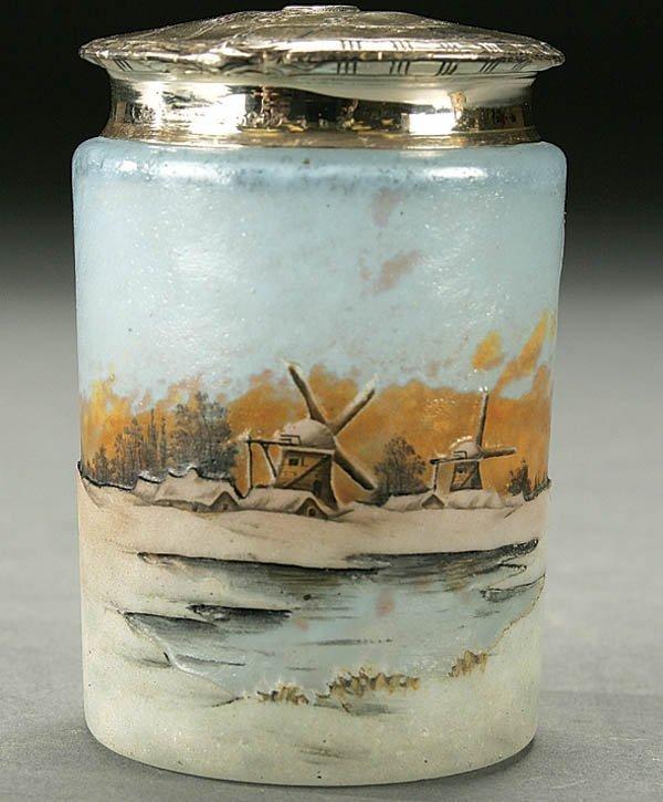 519: DAUM SILVER LIDDED JAR, ENAMELED SCENIC CAMEO GLA