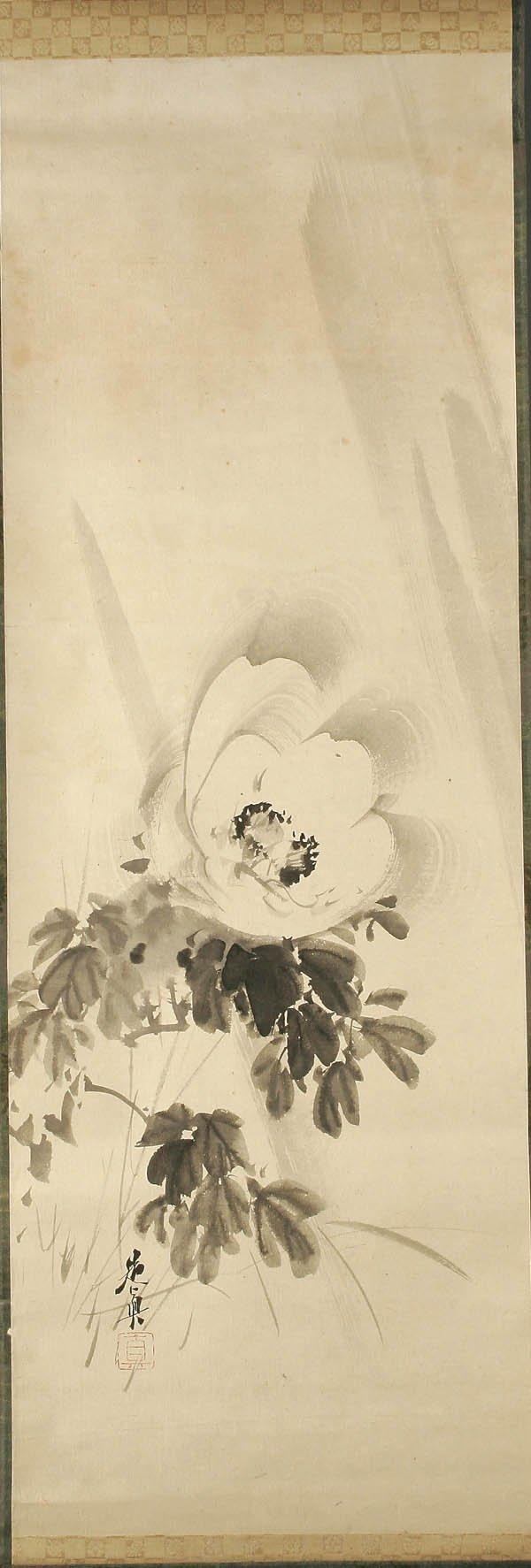 "751: SHIBATA ZESHIN (Japanese 1807-1891) ""Peony"" ink o"