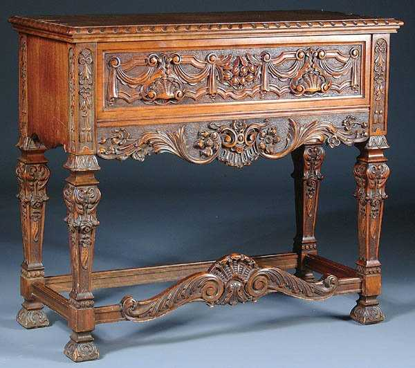 jacobean dining room set   870: 13-PIECE JACOBEAN REVIVAL DINING ROOM SET CARVED