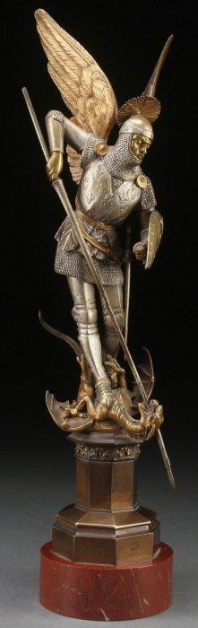 Archangel Michael Bronze By Leon Pilet Circa 1890
